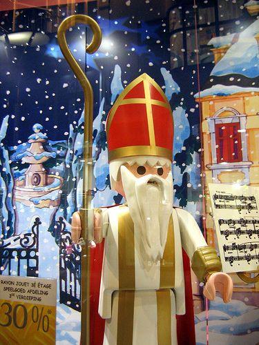Sinterklaas / Saint Nicolas / Nikolaus as a big Playmobil figure in a window shop