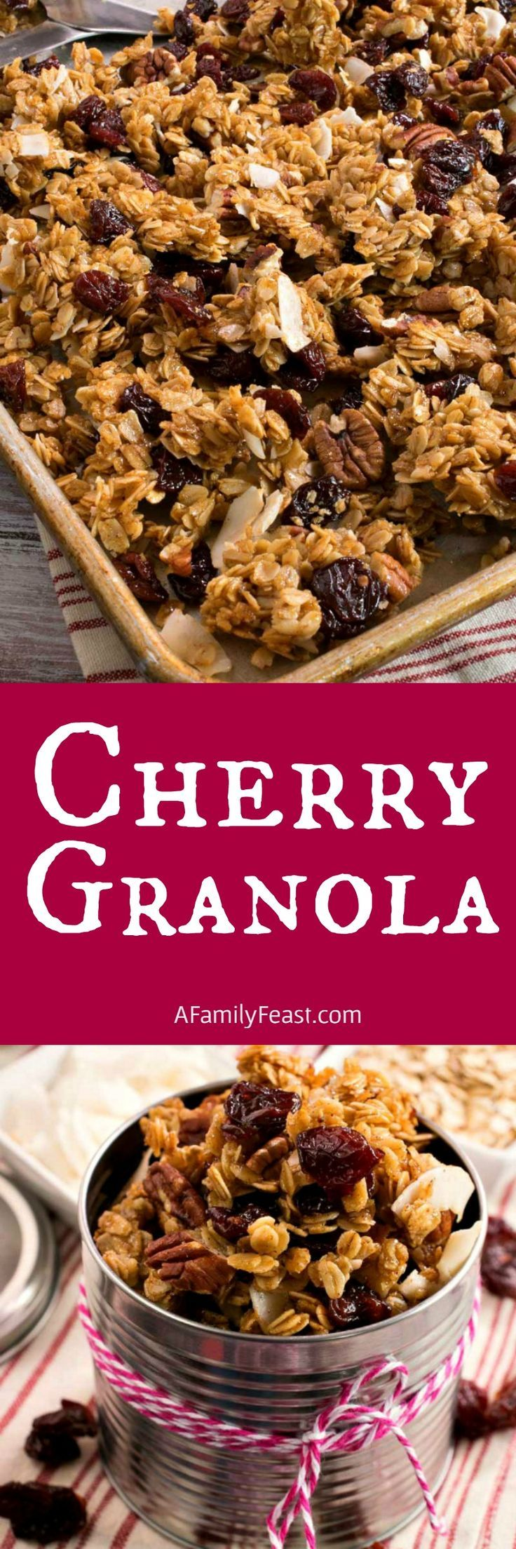 Cherry Granola - So easy to make at home. Loaded with oats, dried cherries, coconut, nuts and more!