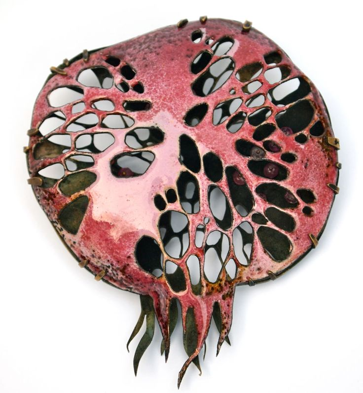 Nora Kovats Brooch: Pomegranate Fantasy II, 2016 Enamel on hand-pierced copper…