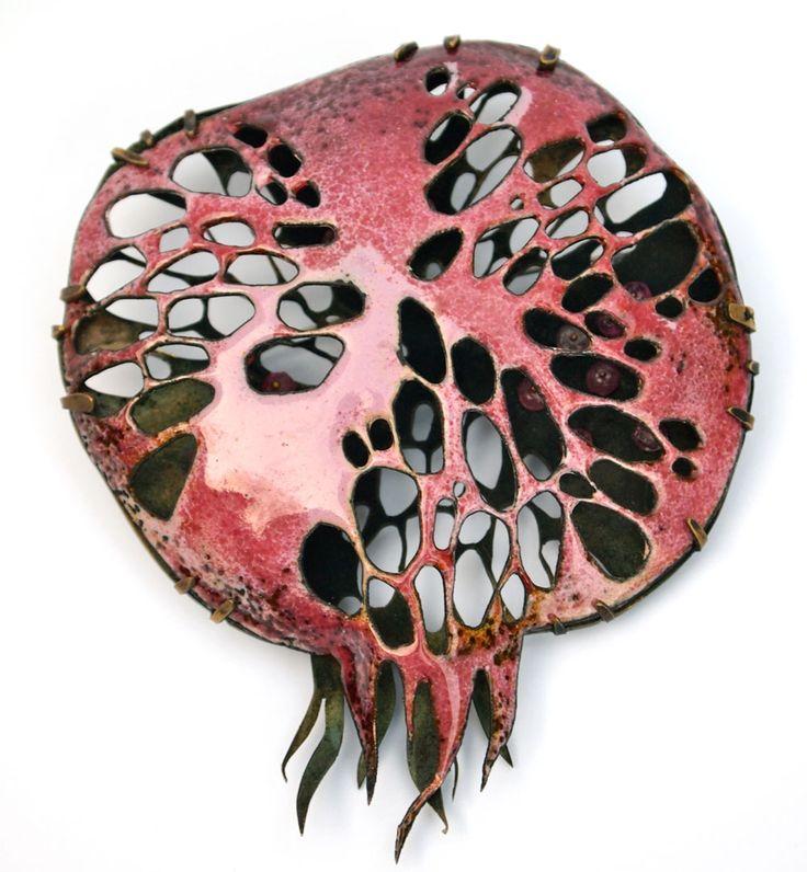 Nora Kovats Brooch: Pomegranate Fantasy II, 2016 Enamel on hand-pierced copper…