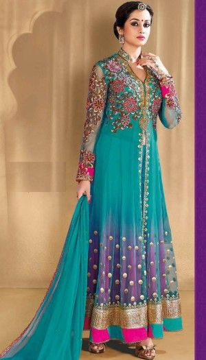 blue purple net anarkali suit beautiful indian ethnic wear perfect for party wear. indian fashion. brijraj fashion. women's clothing