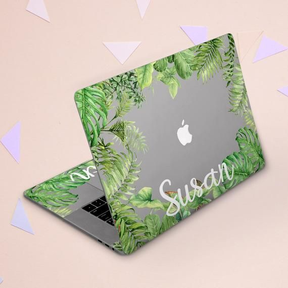 Macbook skin name Gleen leaves cover Macbook clear skin Personalization Macbook skin initial Macbook