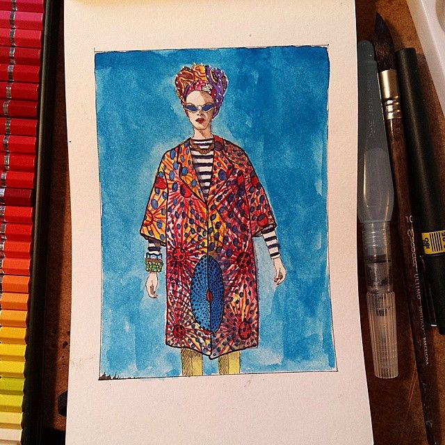 #stellajean #inspired #africanlook #fashionillustrator #fashionsketch #fashionillustration #artofinstagram #dailypainting #fabercastell #albrechtdurer #watercolorpencils