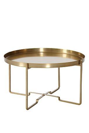 Sofabord med aftagelig bakke.Sammenklappeligt stel. Af metal. Ø 57 cm. Højde 31 cm. <br><br>