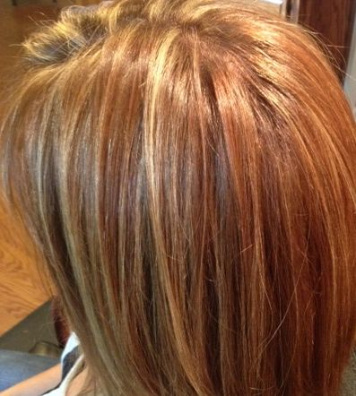 Golden blonde highlights in a warm brown base with various ...