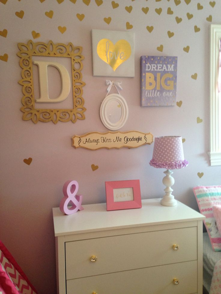 My daughters newly created Toddler Bedroom! Shades of Pink ,purple, teal and GOLD! Loving her new space!