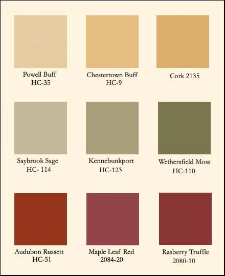 Autumn Benjamin Moore colors - I love all these colors for the home. A few of them already exist there!!