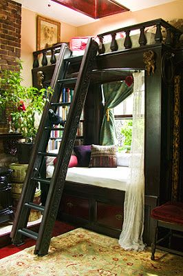 Loft bed over a built in couch library.  Tiny-Ass Apartment: Up a ladder