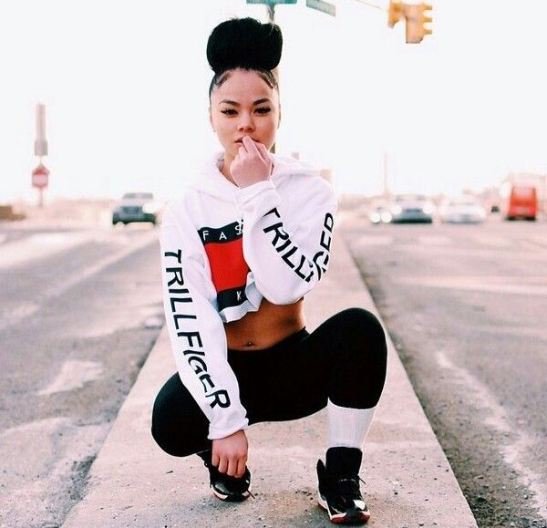 Fashion Killa Clothing Trillfiger Tommy Hilfiger Inspired White Crop Top Jumper High Bun Hair Black Beauty Mixed Chicks Pretty Girl Swag Curly Hair Dope Clothing Urban Streetwear Fashion Style