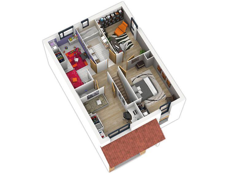 21 best Idées Maisons images on Pinterest Home plans, House - plan de maison avec etage gratuit