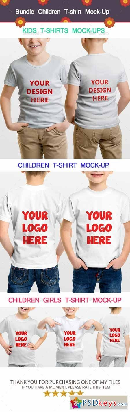 Bundle Children T-shirt Mock-Up 11875250