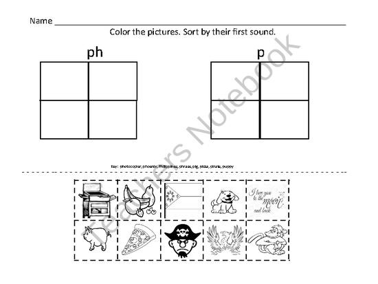 PH Digraph. Sorting PH clipart with glue and scissors. Great Word Work Center
