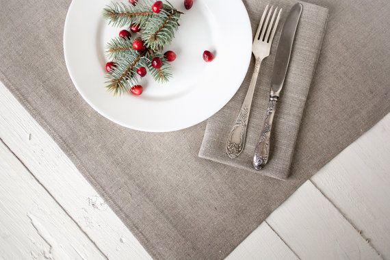 Linen tablecloth - natural linen tablecloth 57'' x 72'' - Christmas tablecoth - Rustic wedding tablecloth - Gray tablecloth