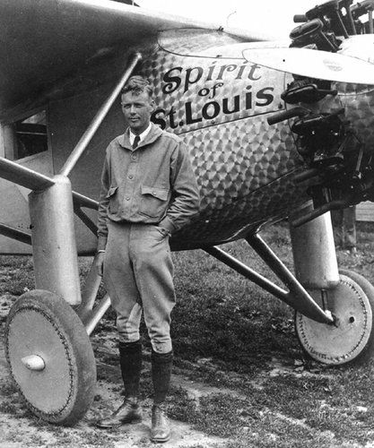 Aviation legend Charles Lindbergh and his famous plane the Spirit of St Louis.