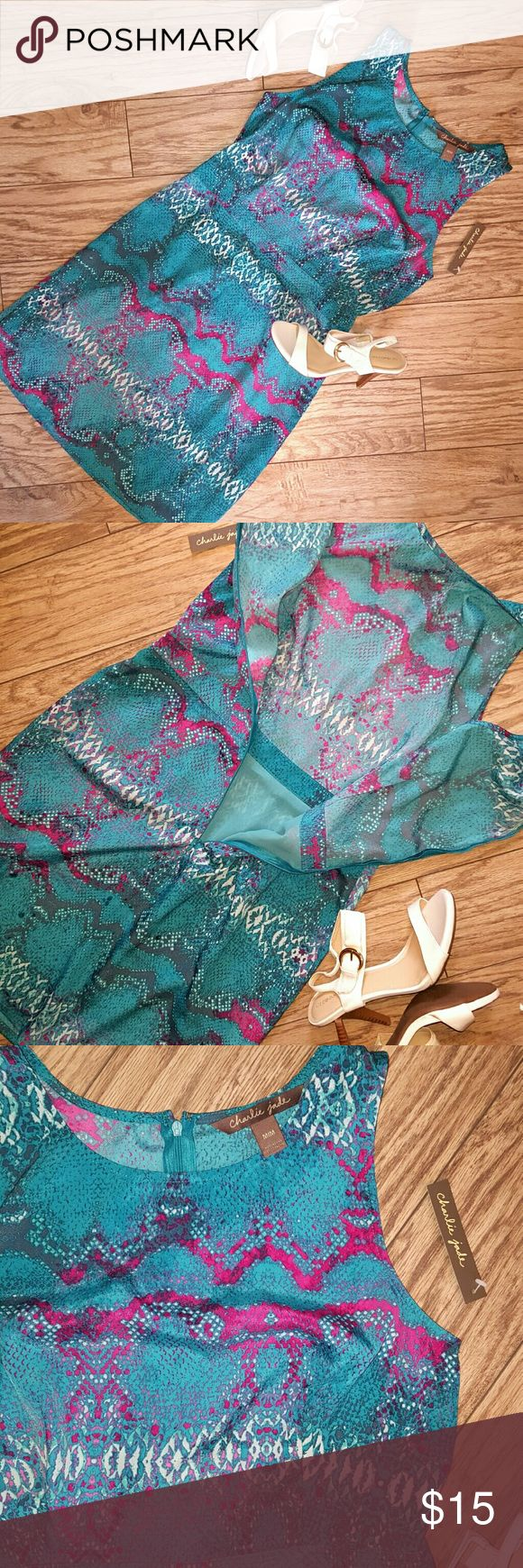 Bright Snake Skin Dress size Medium Brand new with tags. Dress is size medium but runs more like a small. Beautiful bright colors perfect for upcoming spring. Skirt portion of dress has lining. Charlie Jade Dresses