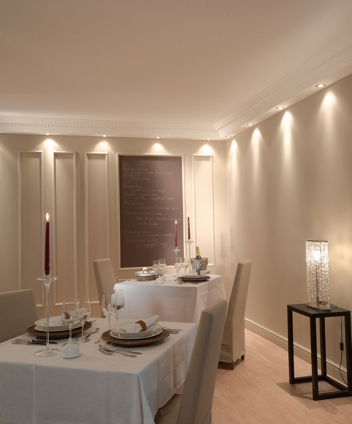 Add multiple spot lights to your coving for a full downlighting effect