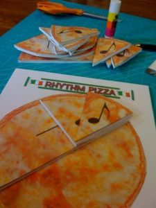Rhythm pizza demonstrates the relationships of whole, half, quarter, and eighth notes. Also a good way to incorporate math in the music classroom.
