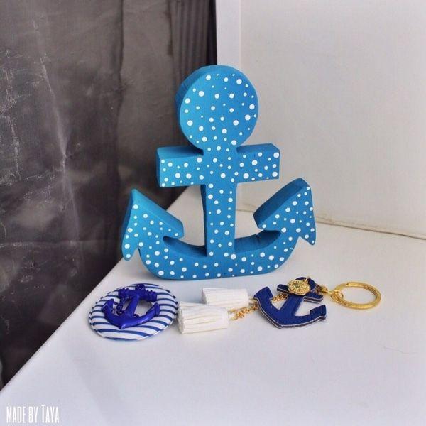 """Купить Декор """"Морской якорь"""" - интерьерное слово, якорь, слово из дерева, декор из дерева"""