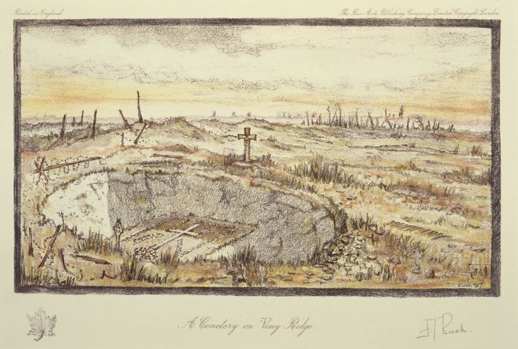 'A Cemetery on Vimy Ridge'. This sketch depicts a memorial at the bottom of a shell crater for fallen soldiers of the 2nd Canadian Division during the Battle of Vimy Ridge.  Print by Lieutenant Frederick Thwaites Bush.  Beaverbrook Collection of War Art, CWM 19710261-0116
