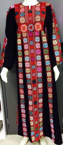 Authentic Traditional Costume Palestinian Embroidery Ethnic Dress Thoub Folk Art