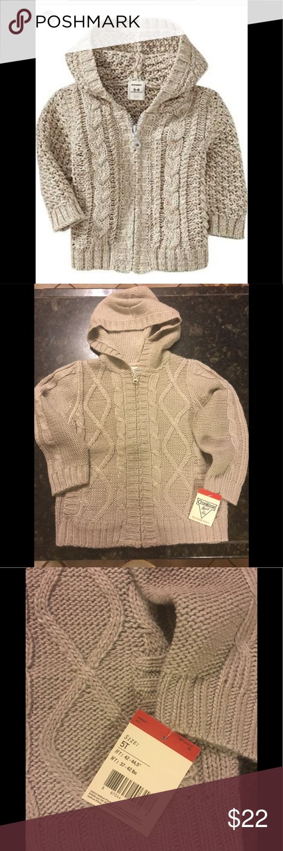 NWT Osh Kosh toddler boy cable knit sweater Very cute zip up sweater with hood.  Light tan/oatmeal color. The last image is a stock photo to show the cable knit pattern.  This sweater does not have Sherpa lining. Osh Kosh Shirts & Tops Sweaters