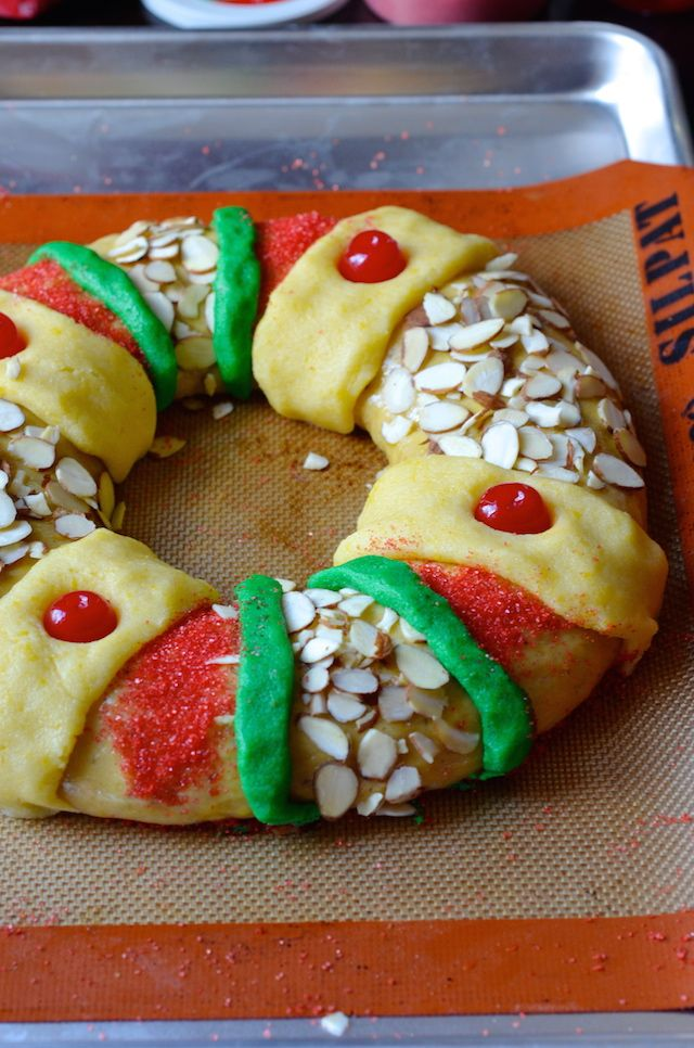 A recipe for Rosca de Reyes / King Cake - a sweet, decorative bread eaten on Three Kings Day (January 6) to celebrate the Feast of the Epiphany.