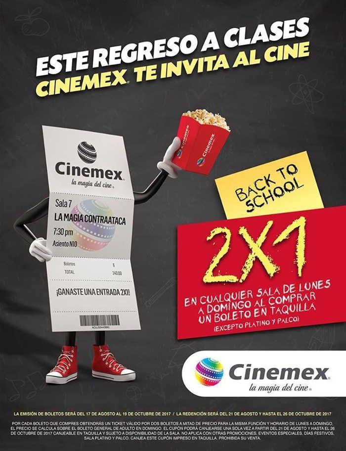 Cinemex para este regreso a Clases te invita al cine, aprovecha la promoción de 2×1 en entradas a cualquier sala de lunes a domingo.
