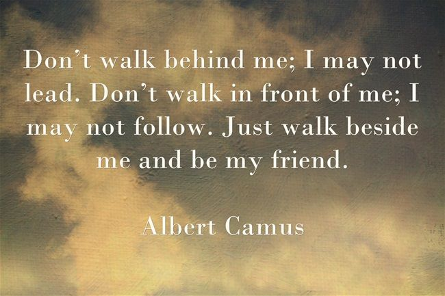 僕の後ろを歩かないでくれ。僕は導かないかもしれない。僕の前を歩かないでくれ。僕はついていかないかもしれない。ただ僕と一緒に歩いて、友達でいてほしい。~アルベール・カミュ