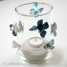 Upcycled Aluminium Can Butterfly candle holder.