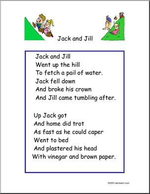 Nursery Rhyme Poster: Jack and Jill. Includes; poem poster, cloze exercise, word search, and coloring page.