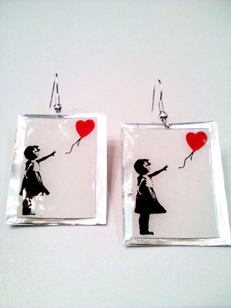 Χειροποίητα σκουλαρίκια κοριτσάκι με μπαλόνι
