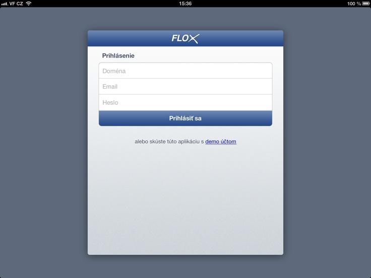 prihlásenie do administrácie www stránky alebo e-shopu v rámci Flox aplikácie - iPad