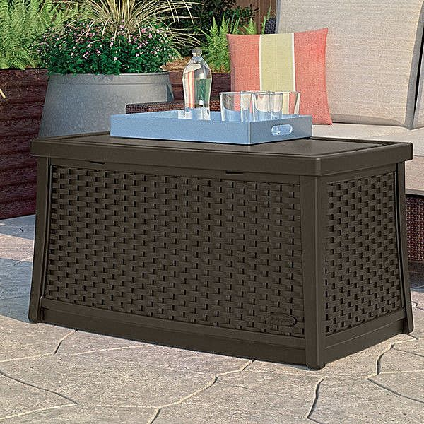 Deck Storage Box Brown End Table Patio Chest Trunk Plastic Wicker Furniture Yard | Home & Garden, Household Supplies & Cleaning, Home Organization | eBay!