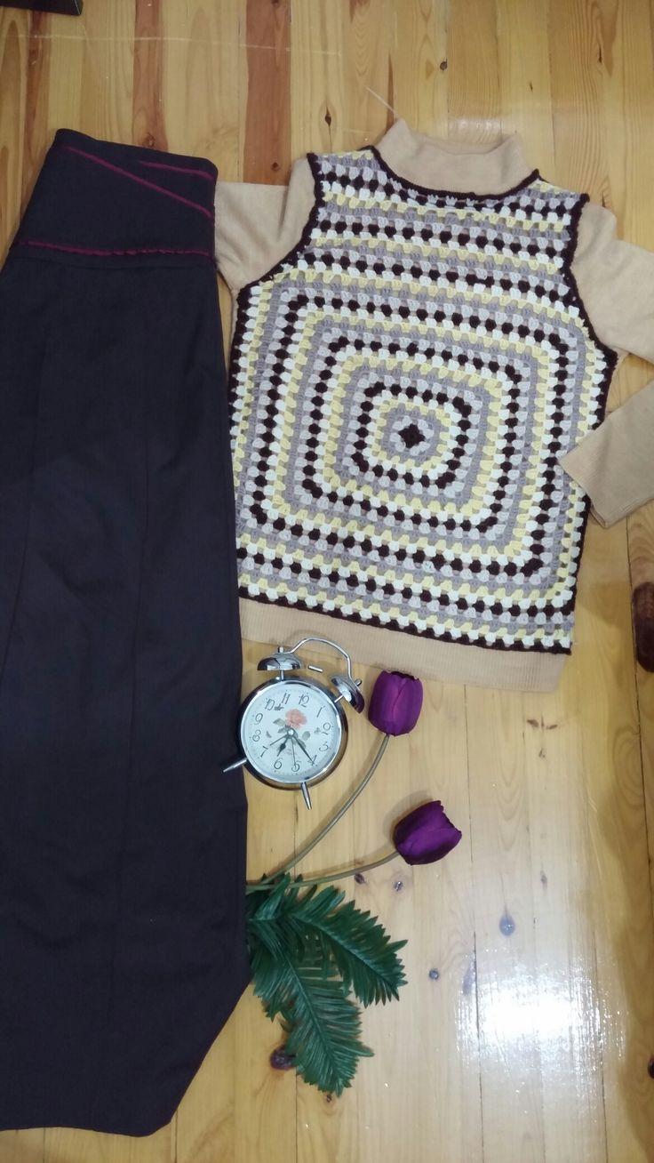 kare tek motif kazak square crochet yellow brown