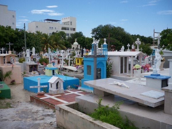 cemetary in Isla Mujeres.  My first stop after we went and bought Tanzanite rings at Tiffany's and drank frozen margarita's while we had them sized.