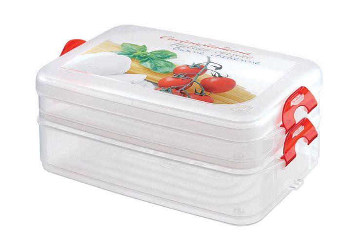 Frigoclick1,33 + 0,75 L.  Contenitore multiplo, composto da due vaschette bloccabili tra di loro ed un coperchio. Permette di conservare due pietanze separatamente in frigorifero e di riscaldarle in forno a microonde, senza coperchio. #box #cibo #food