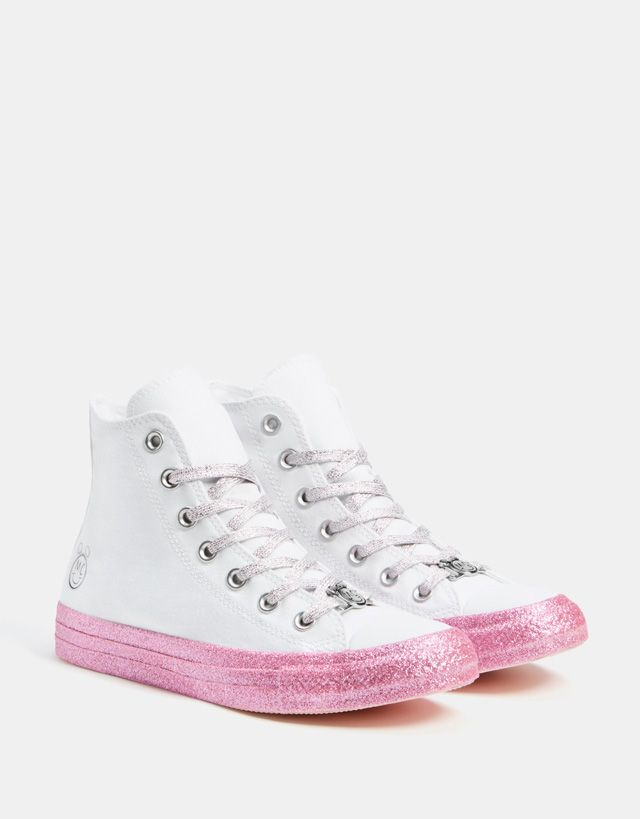 Converse X Miley Cyrus fabric high-top sneakers - Bershka  conversexmiley   converse  mileycyrus  miley  chucktaylor…  842eb8b6d