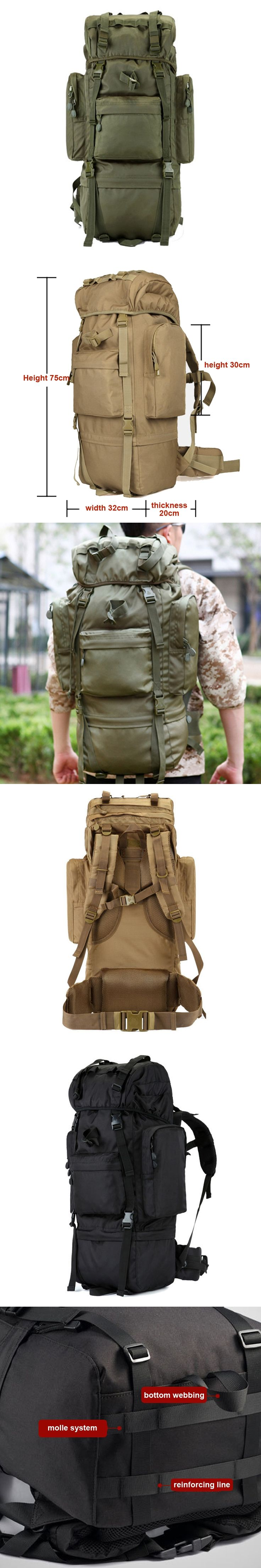 YUETOR 65L Hiking Camping Bag Outdoor Travel Sport Military Tactical Rucksacks Mochilas Militares Super Large Military Backpack