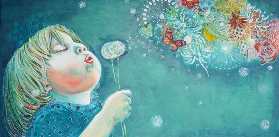 Mixed Media Art on Canvas- DANDELION WISHES by Sharel Cilliers