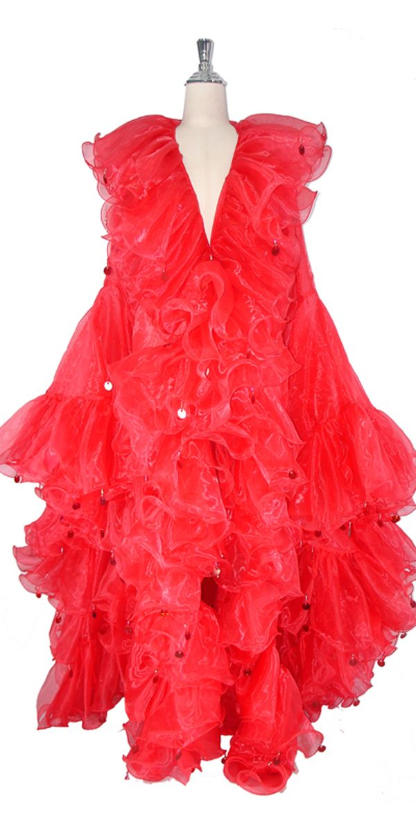 Long Organza Ruffle Coat with Oversized Sleeves and Highlight Sequins in Red.
