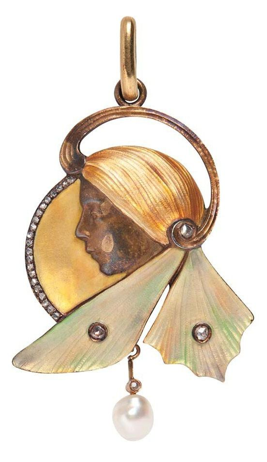 An Art Nouveau Gilt Silver, Enamel, and Diamond Pendant. Depicting a woman with flowing hair, rose-cut diamond melee accents, pearl drop, partially obliterated Continental hallmark, lg. 2 1/4 in. #ArtNouveau #pendant
