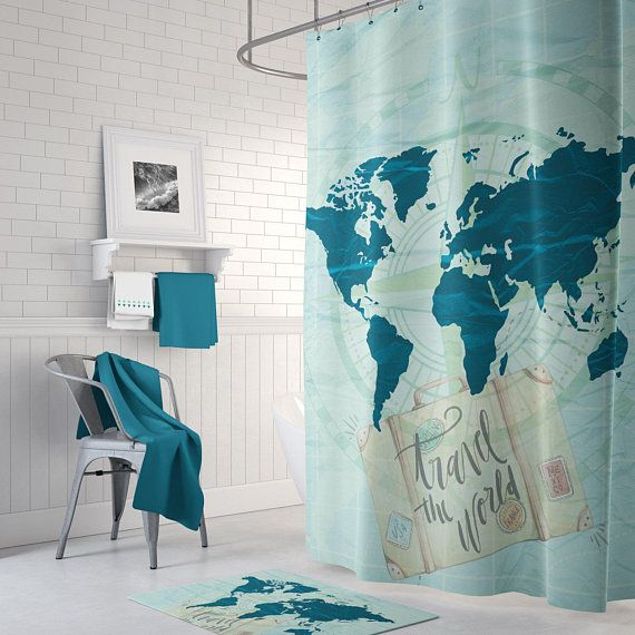 World Map Bath Mat Bath Mat Set Blue Bath Mat Bathroom Bath Mat