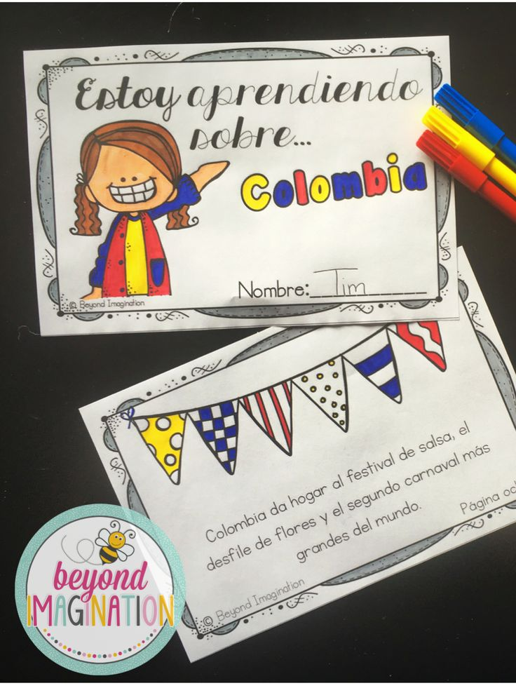 Spanish resource booklet to teach children about Colombia. Such a cute and fun booklet for little Español  learners.