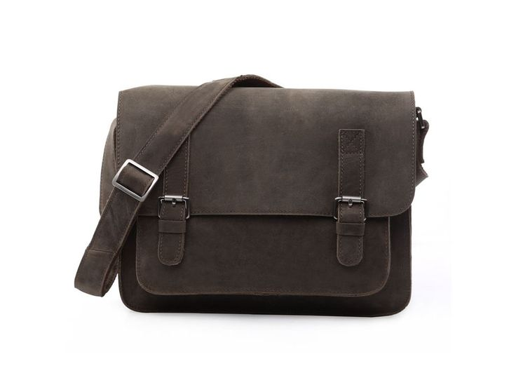 A stylish grey messenger bag with a sleek design. The bag is made from 100% genuine wax treated leather.