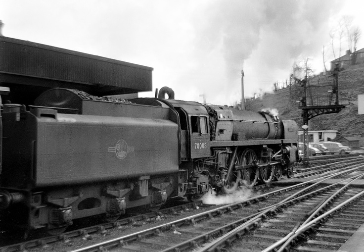 Britannia Pacific 70008 'Black Prince' restarts a Norwich - Liverpool Street service from its Ipswich stop 11/60.