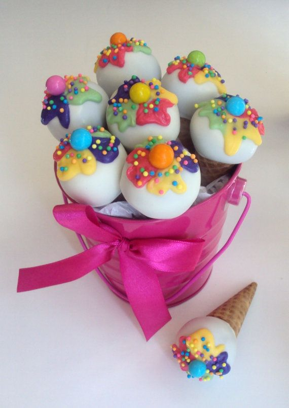 These are in mini sugar cones instead of the standard sticks for cake pops...lots of different styles of cake pops