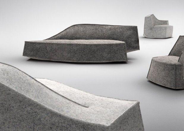 Le designer français Jean-Marie Massaud a créé pour la marque suédoise Offecct un sofa et un fauteuil gris taupe, semblables aux formes asymétriques d'un iceberg. La forme abstraite des meubles est légère dans son expression et contemporaine tant dans son design que dans la technique utilisée. Ce n'est pour l'instant qu'un prototype du Laboratoire Offecct et du designer français.