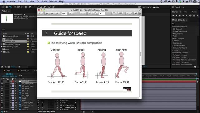 This is a brief tutorial that demonstrates setting keyframes for a character walk cycle.  This is for a very basic animation and used by my Phoenix College animation class.  It covers the 4 main poses used in a walk cycle, contact, recoil, passing and high point.