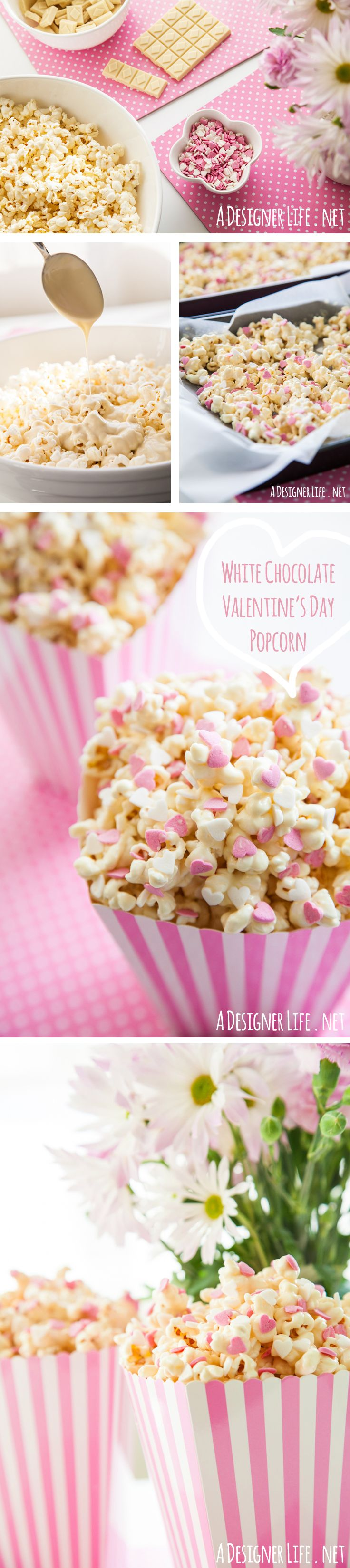 White Chocolate Popcorn with Heart Sprinkles! See it here: http://www.adesignerlife.net/food-design-3-easy-last-minute-valentines-day-recipes/