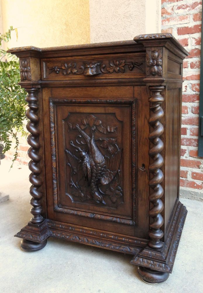 Elegant Antique French Carved Oak Hunt Cabinet BARLEY TWIST Black Forest Liquor  Wine Bar
